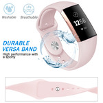 123Watches.nl Fitbit charge 3 sport silicone band - pink sand