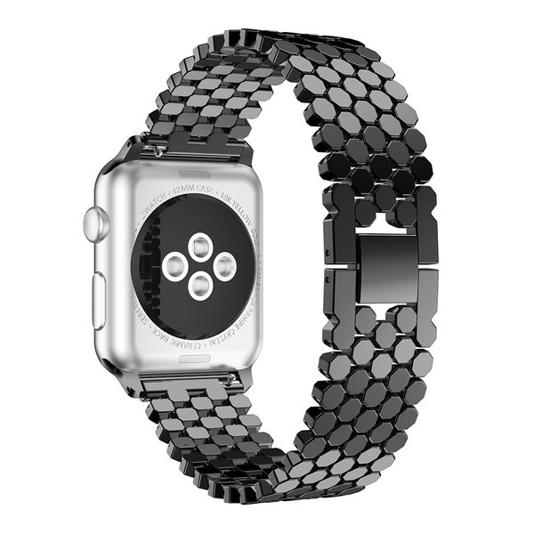 123Watches Apple watch Fischstahl Gliederband - schwarz