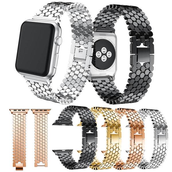 123Watches.nl Apple watch vis stalen schakel band - goud