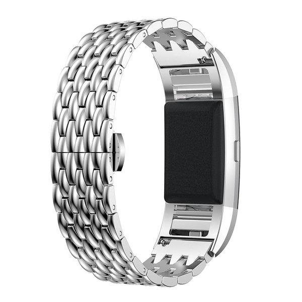 123Watches.nl Fitbit charge 2 draak stalen schakel band - zilver
