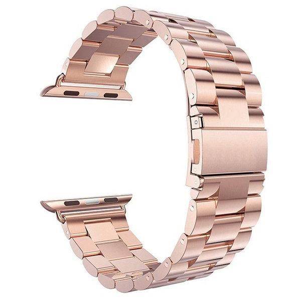 123Watches.nl Apple watch 3 kralen stalen schakel band - rose goud