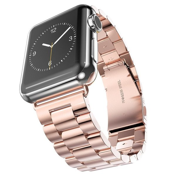 123Watches Apple watch 3 beads steel link - rose gold