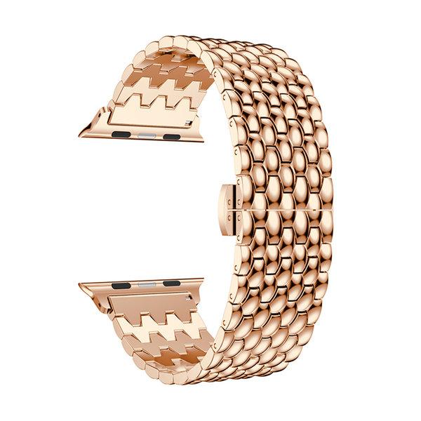 123Watches.nl Apple watch draak stalen schakel band - rose goud