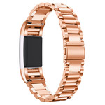 123Watches Fitbit charge 2 3 beads steel link - rose gold
