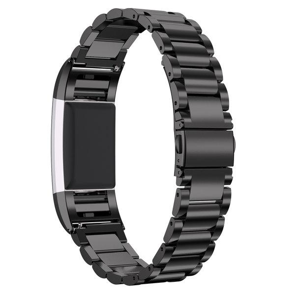 123Watches.nl Fitbit charge 2 3 kralen stalen schakel band - zwart