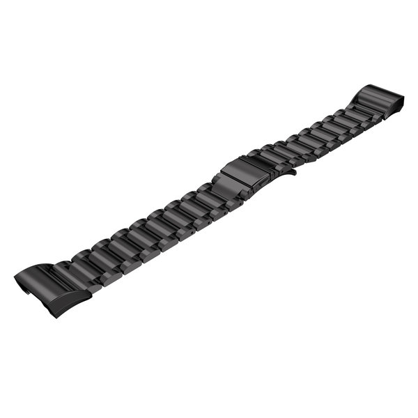 123Watches Fitbit charge 2 3 beads steel link - black