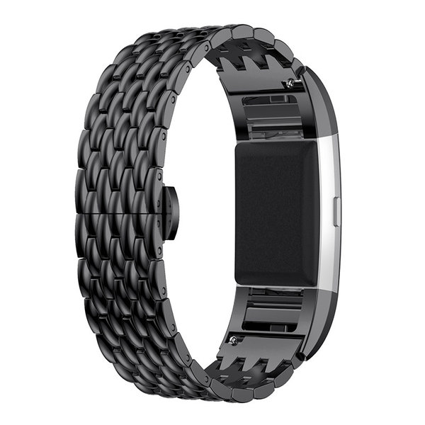 123Watches.nl Fitbit charge 2 draak stalen schakel band - zwart