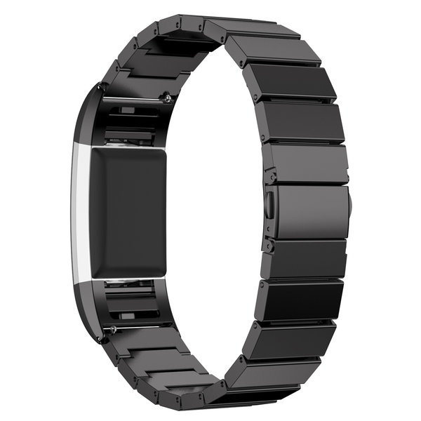 123Watches Fitbit charge 2 stalen schakel band - zwart