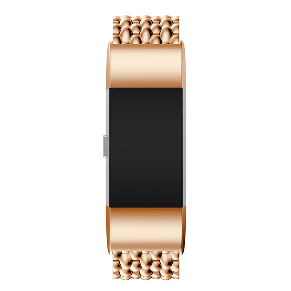 123Watches.nl Fitbit charge 2 draak stalen schakel band - rose goud