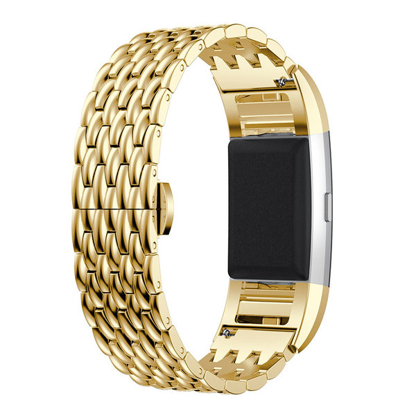 123Watches.nl Fitbit charge 2 draak stalen schakel band - goud