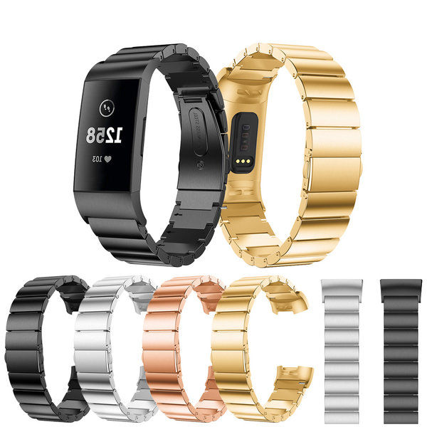 123Watches Fitbit charge 3 & 4 stalen schakel band - zwart