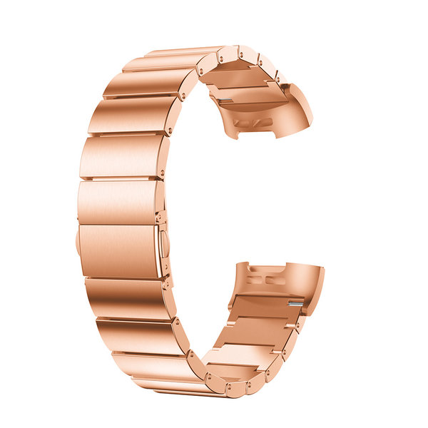123Watches.nl Fitbit charge 3 stalen schakel band - rose goud
