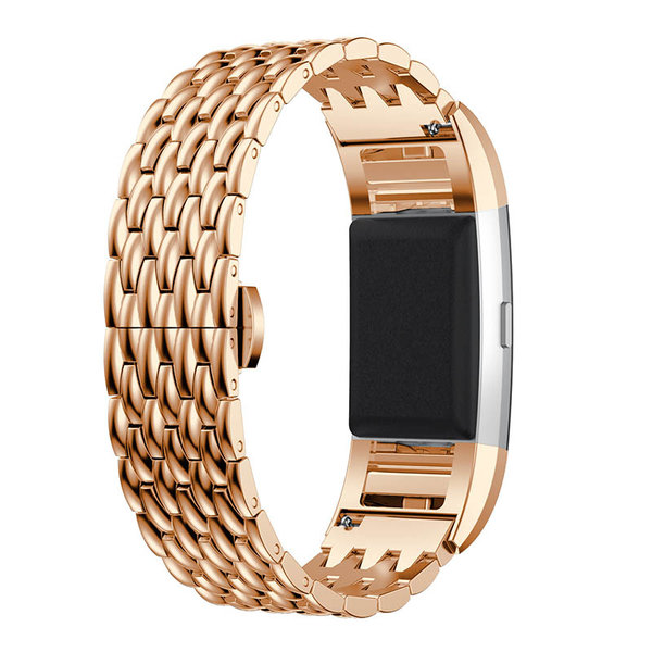 123Watches.nl Fitbit charge 3 draak stalen schakel band - rose goud
