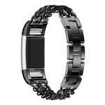 123Watches Fitbit charge 3 & 4 cowboy stalen schakel band - zwart