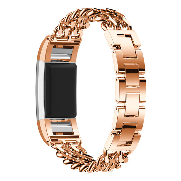 123Watches.nl Fitbit charge 3 cowboy stalen schakel band - rose goud