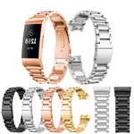 123Watches Fitbit charge 3 & 4 kralen stalen schakel band - zwart