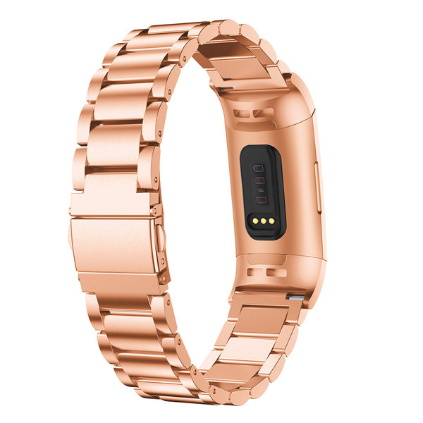 123Watches.nl Fitbit charge 3 beads steel link - rose gold