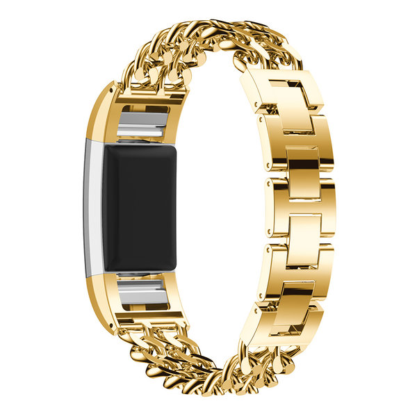 123Watches.nl Fitbit charge 3 cowboy stalen schakel band - goud