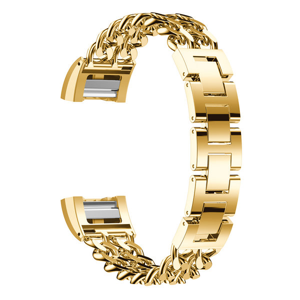 123Watches Fitbit charge 3 & 4  cowboy stalen schakel band - goud