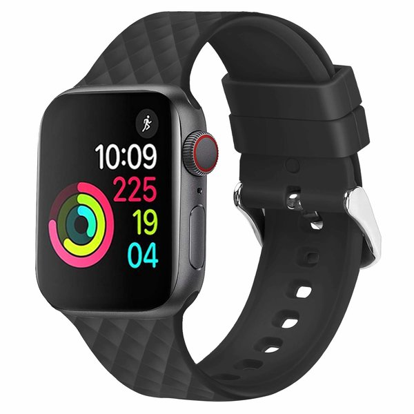 123Watches Apple watch rhombic silicone band - noir