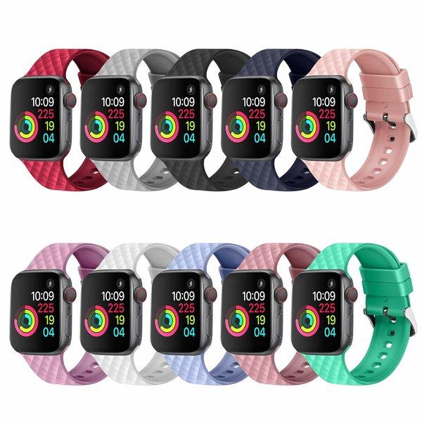 123Watches Apple watch rhombic silicone band - marineblauw