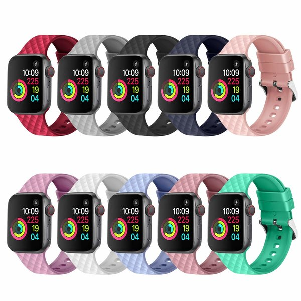 123Watches.nl Apple watch rhombic silicone band - sable rose