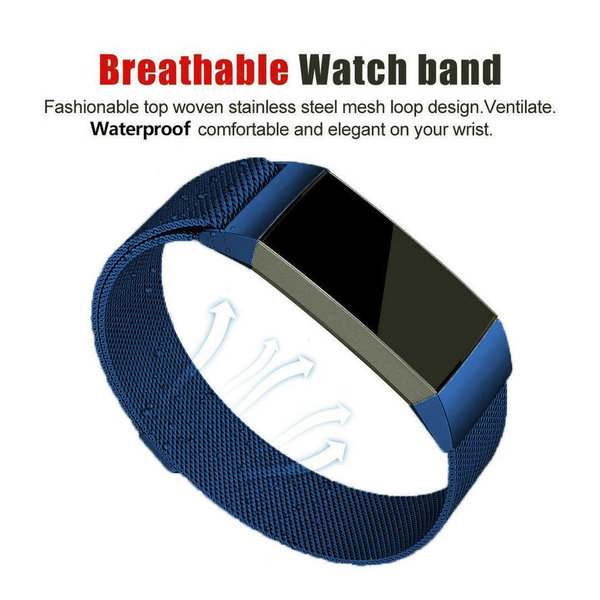 123Watches Fitbit charge 3 & 4 milanese band - blauw