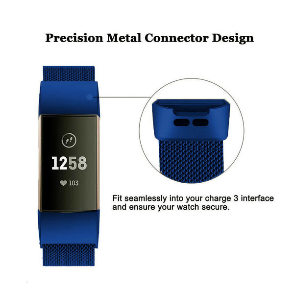 123Watches Fitbit charge 3 & 4 milanese band - blue