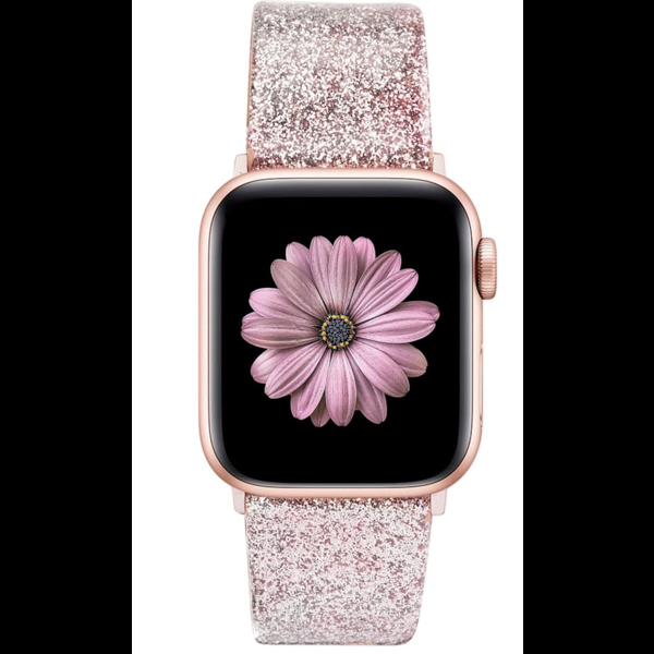 123Watches Apple watch leren glitter band - roze