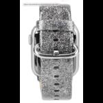 123Watches Apple watch cuir paillettes bande - argent