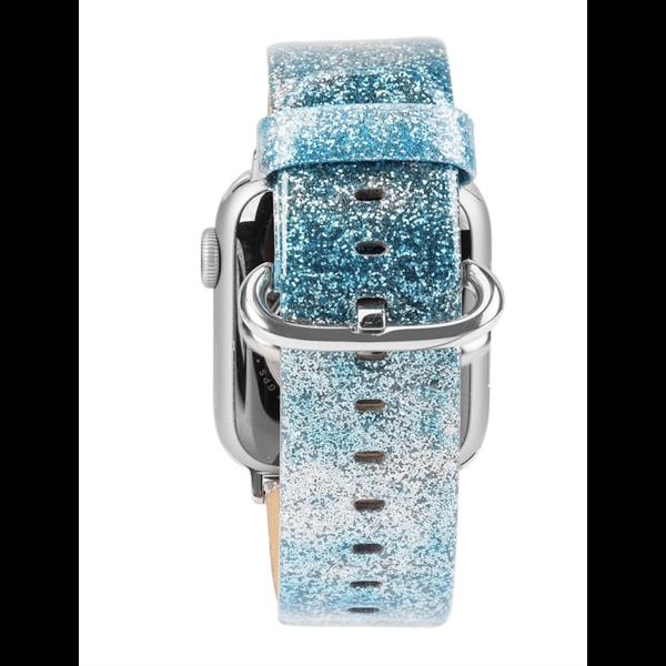 123Watches Apple watch leren glitter band - blauw