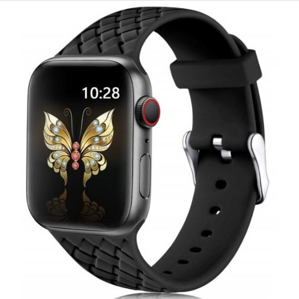 123Watches Apple watch woven silicone band - zwart