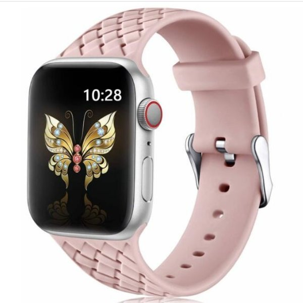 123Watches Apple watch woven silicone band - pink san