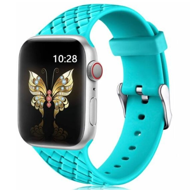 123Watches Apple watch woven silicone band - groen