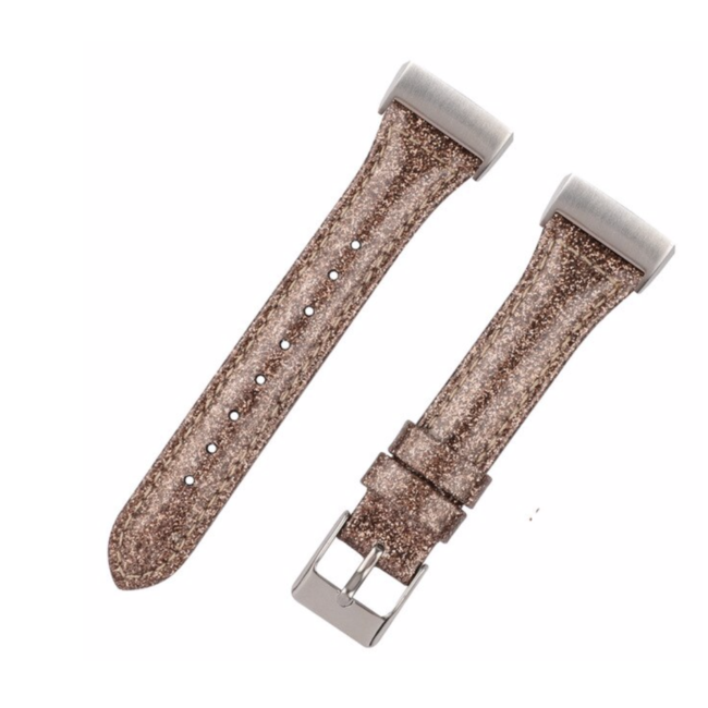 Fitbit charge 3 & 4 leren glitter band - bruin