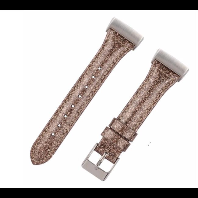 Merk 123watches Fitbit Charge 3 & 4 leren glitter band - bruin