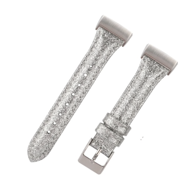 Fitbit Charge 3 & 4 leren glitter band - zilver