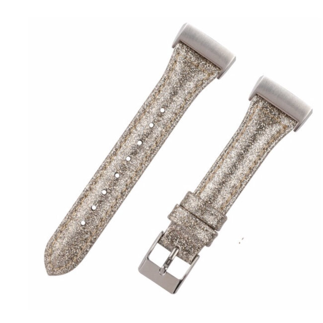 Fitbit Charge 3 & 4 leren glitter band - goud