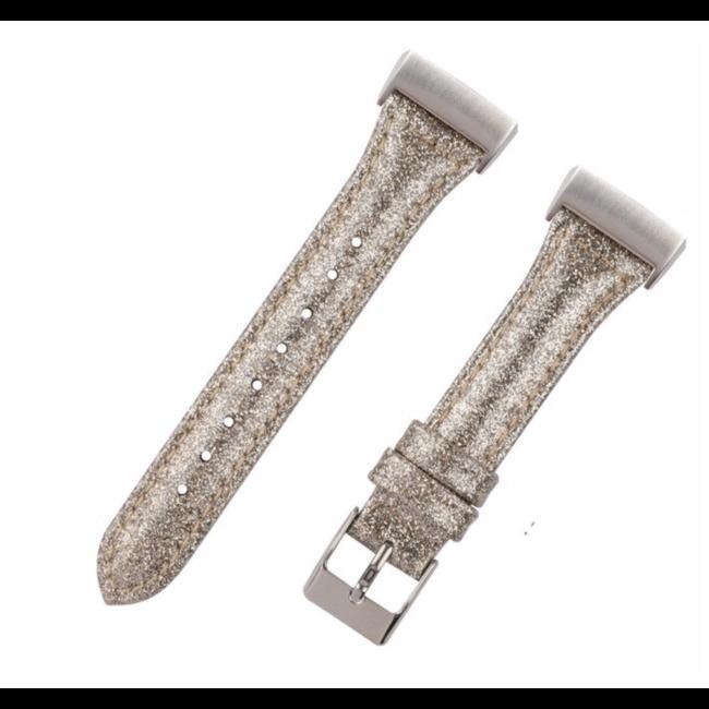 Merk 123watches Fitbit Charge 3 & 4 leren glitter band - goud