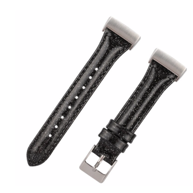 123Watches Fitbit Charge 3 & 4 leather glitter strap - black