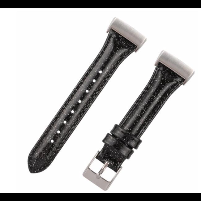 Merk 123watches Fitbit Charge 3 & 4 leren glitter band - zwart