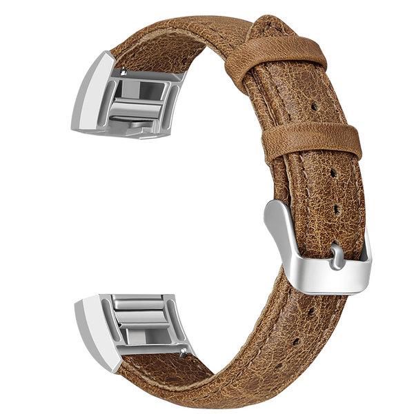 123Watches Fitbit charge 2 bracelet en cuir véritable - marron clair