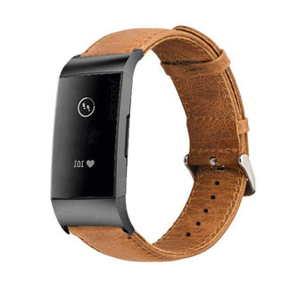 Merk 123watches Fitbit charge 3 & 4 genuine leather band - light brown