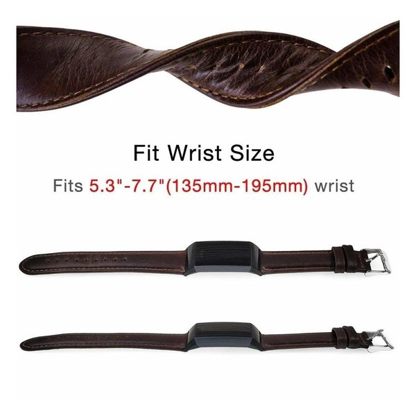 123Watches Fitbit charge 3 & 4 genuine leather band - dark brown