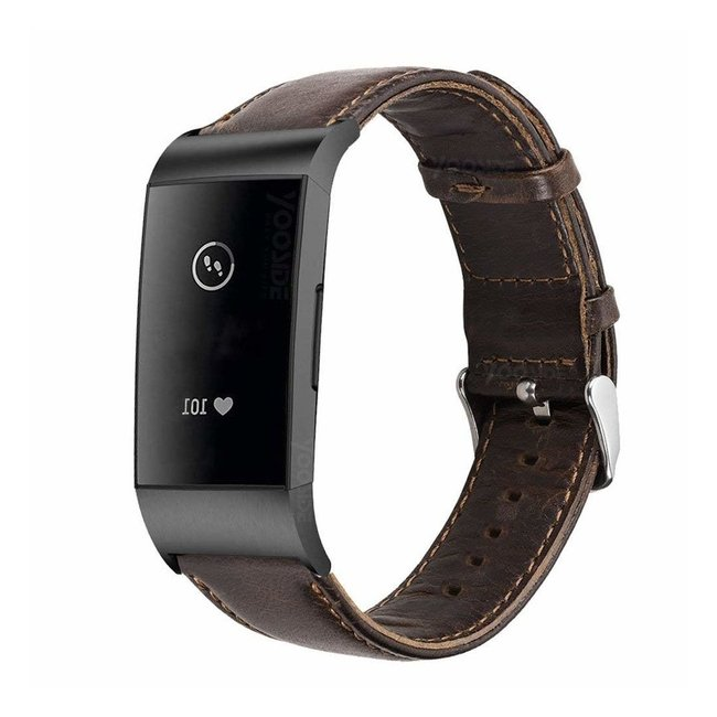 Fitbit charge 3 & 4 genuine leren band - donkerbruin