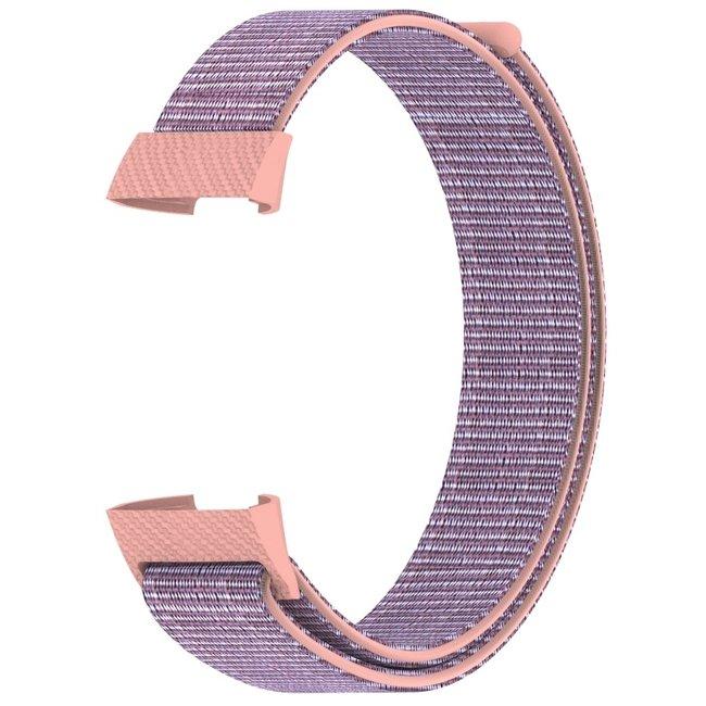 Merk 123watches Fitbit charge 3 & 4 nylon sport band - roze zand