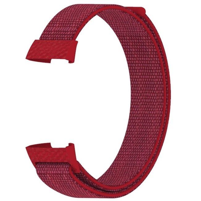 Merk 123watches Fitbit charge 3 & 4 nylon sport band - rood