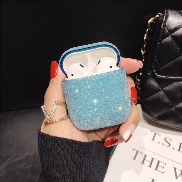 123Watches Apple AirPods 1 & 2 glitter hard case - blauw