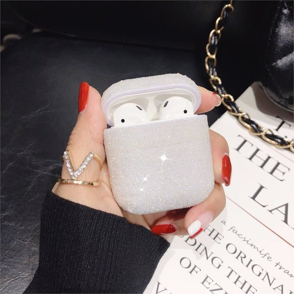 123Watches Coque Apple AirPods 1 & 2 pailleté étui rigide - blanc