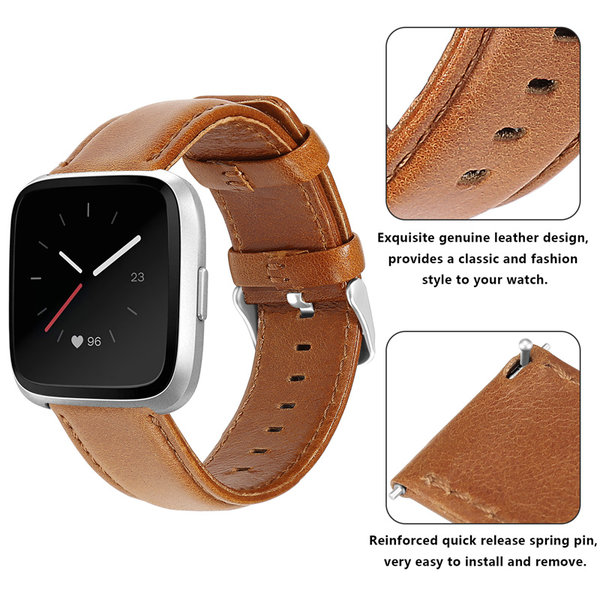 123Watches Fitbit Versa genuine leather band - light brown